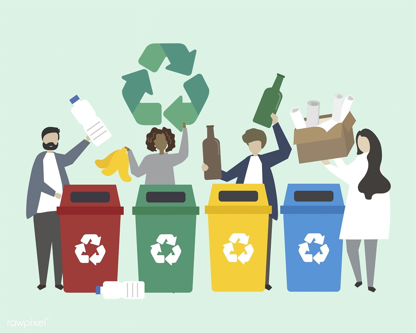 Download free vector of People sorting garbage into recycle bins